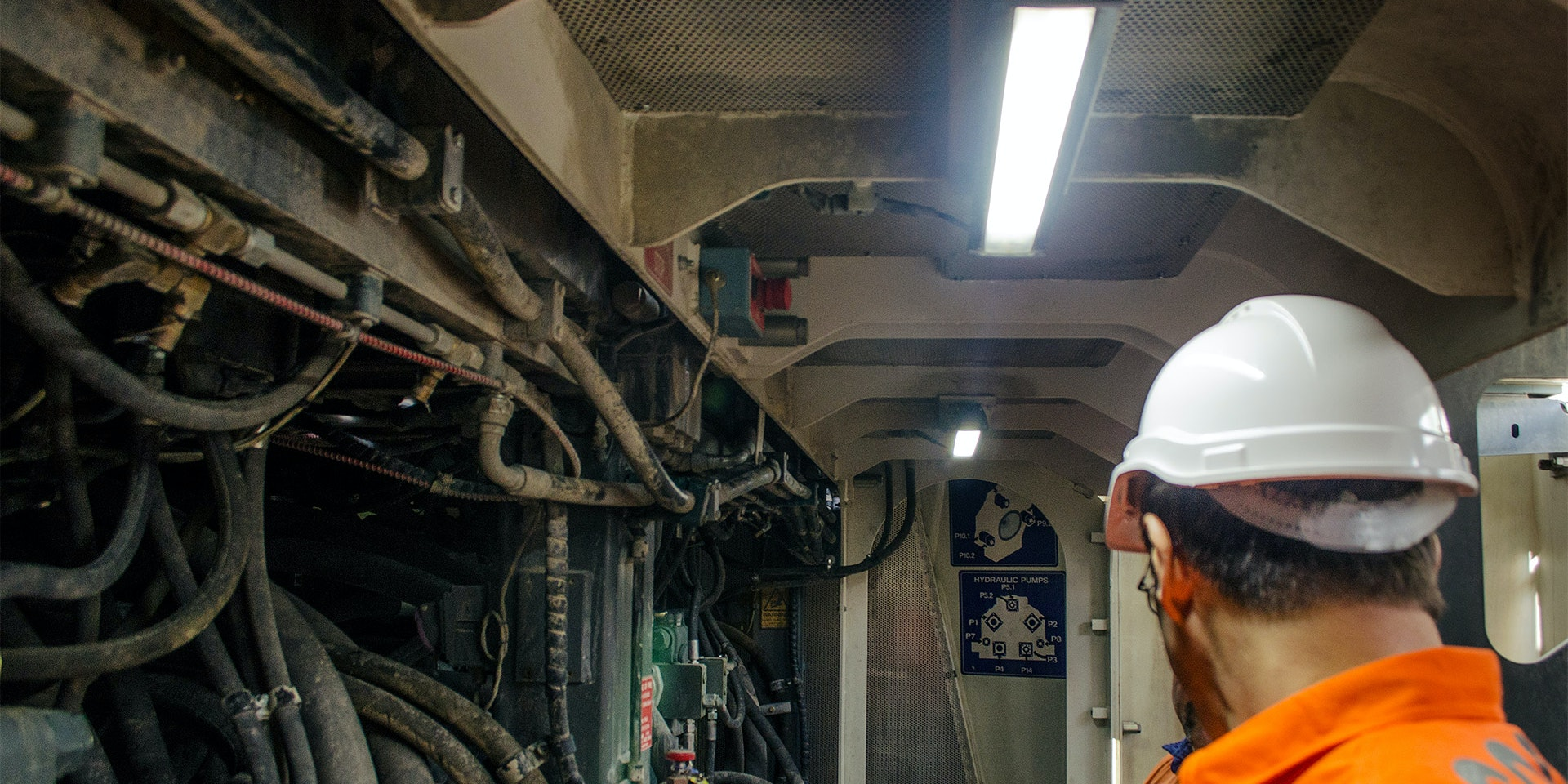 MC22 Machine Light in application, installed in the engine bay on a 996 liebherr excavator