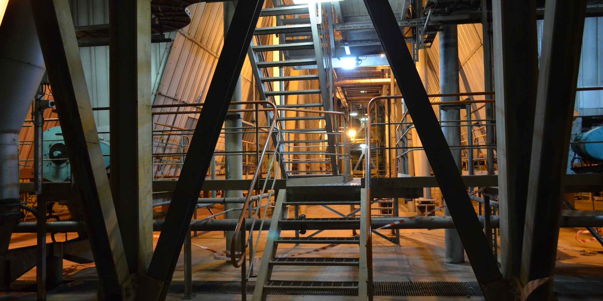 Tunnel Ray LED Tunnel / Low Profile Light in application, installed on a stairwell on a  power station