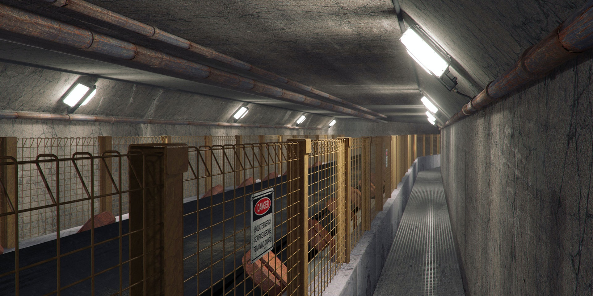 Tunnel Ray LED Tunnel / Low Profile Light in application, installed on an underground conveyor tunnel