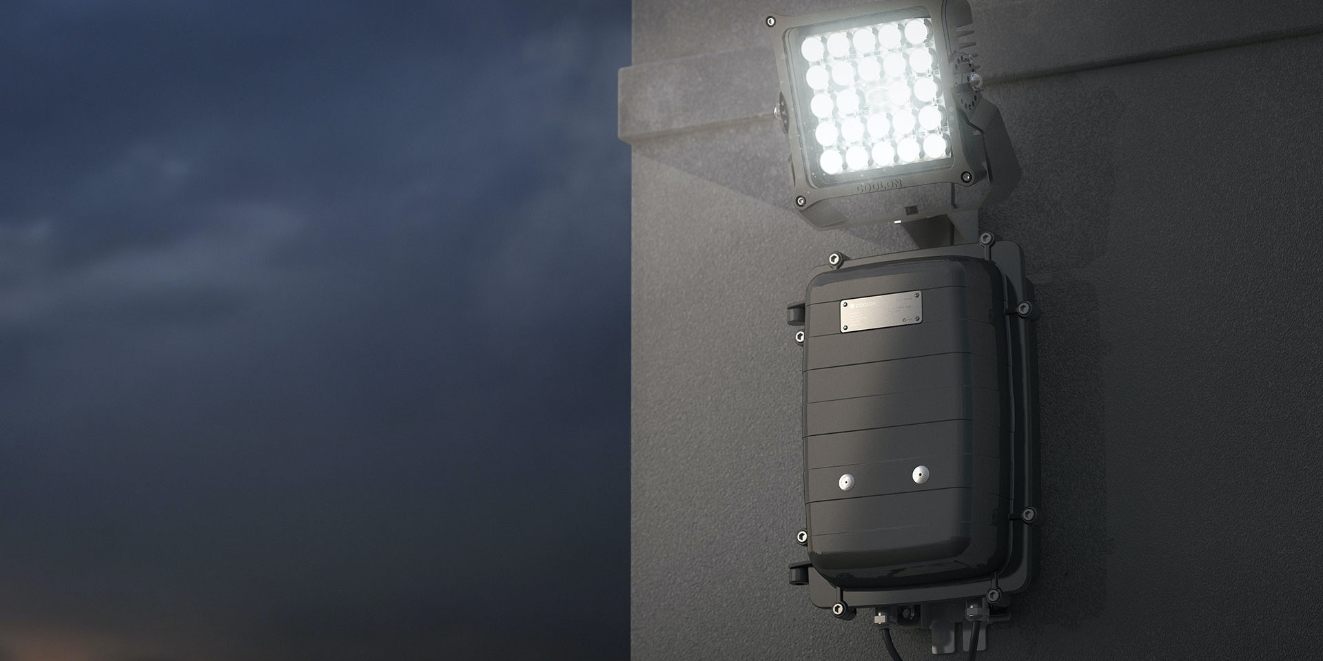 Warden LED Flood Light in application,installed on a wall on an industrial / mine site